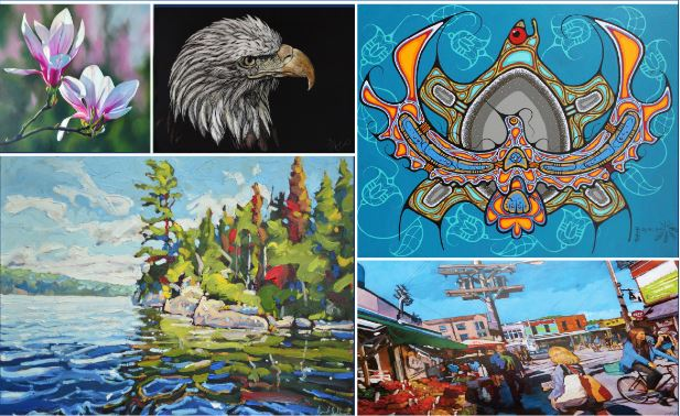 collage of 5 images: photo of magnolia blossoms; head of eagle; stylized bird and turtle; lake with wooded shoreline and busy city scene