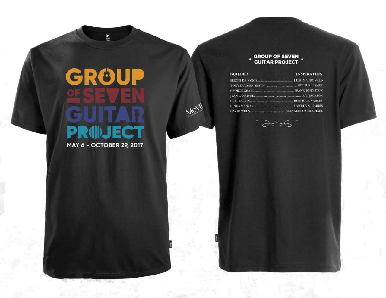 two black t-shirts with Guitar Project information printed on them