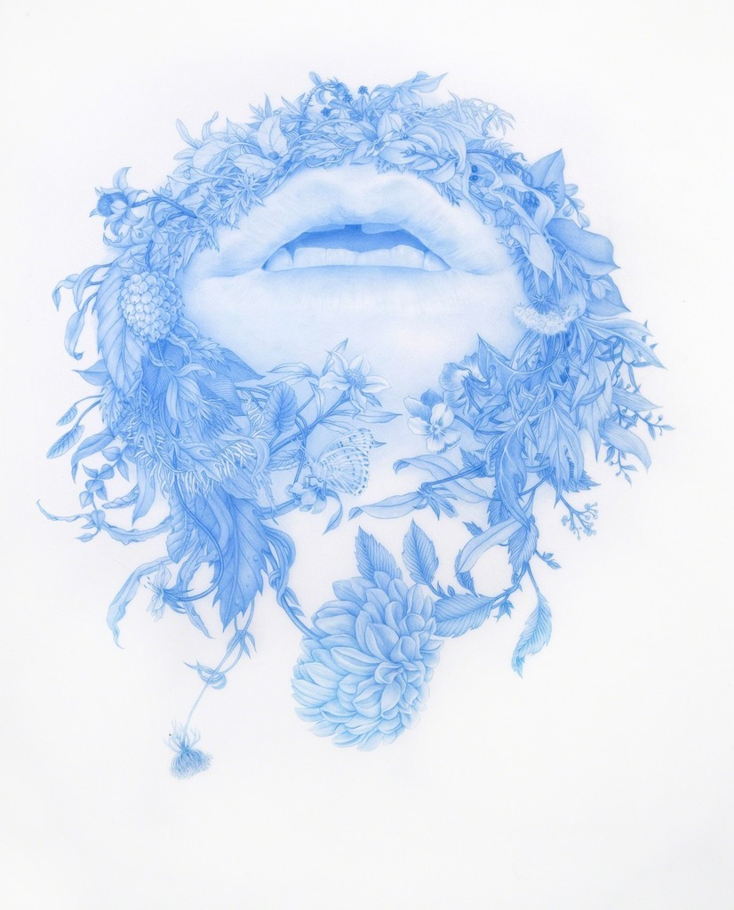 blue image of open mouth with foliage and fruits suggesting mustache and beard